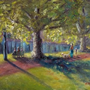 Hyde Park Morning Chit Chat Painting - Plein Air Paintings