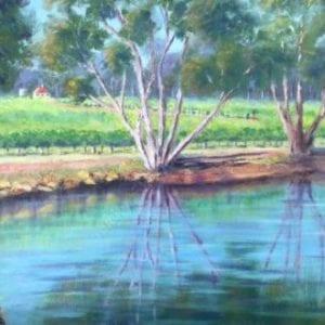 Vineyard Reflections, Margaret River Painting - Plein Air Paintings